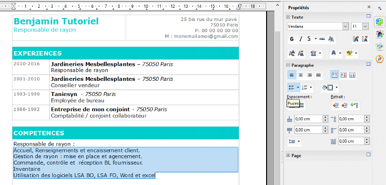 comment faire un cv sur libre office