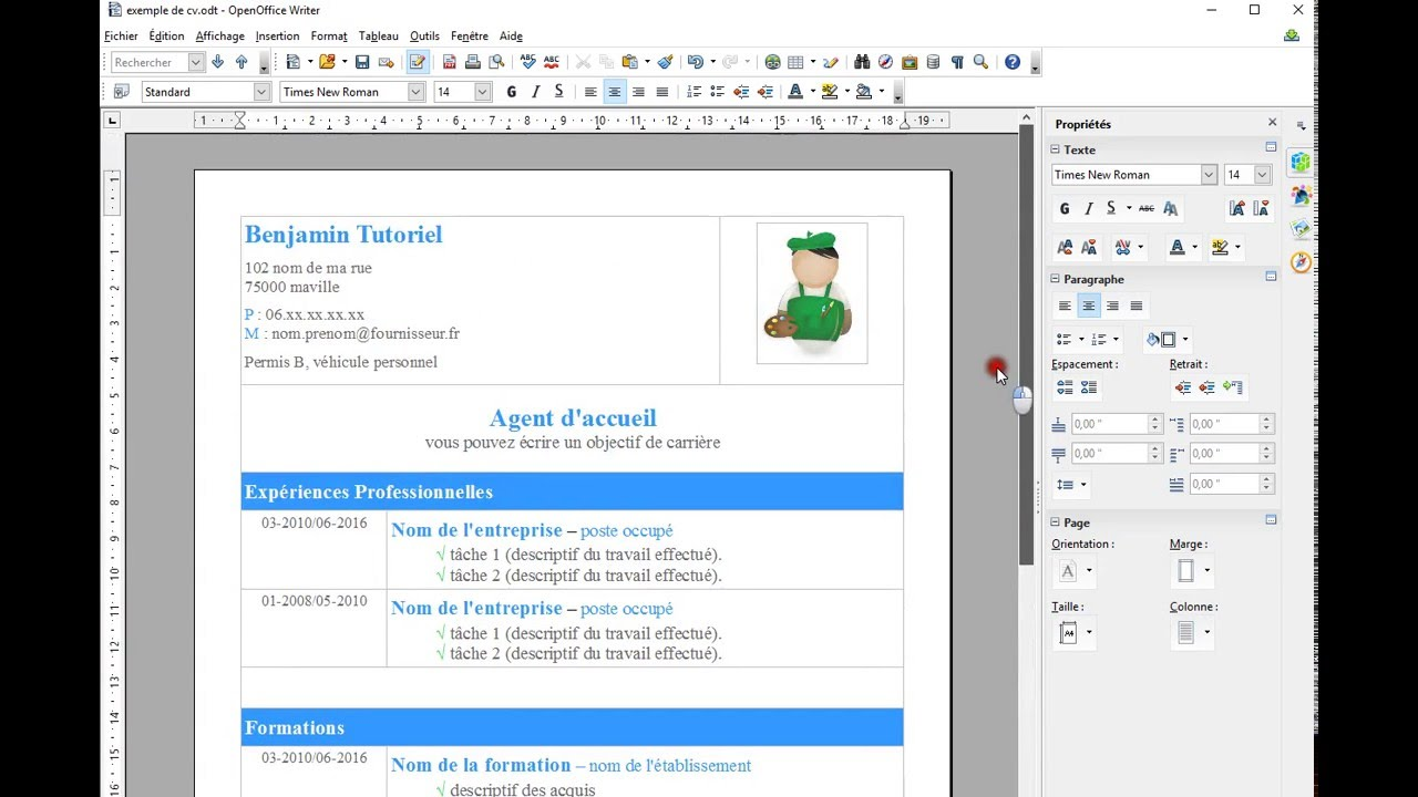 creer cv simple sur open office