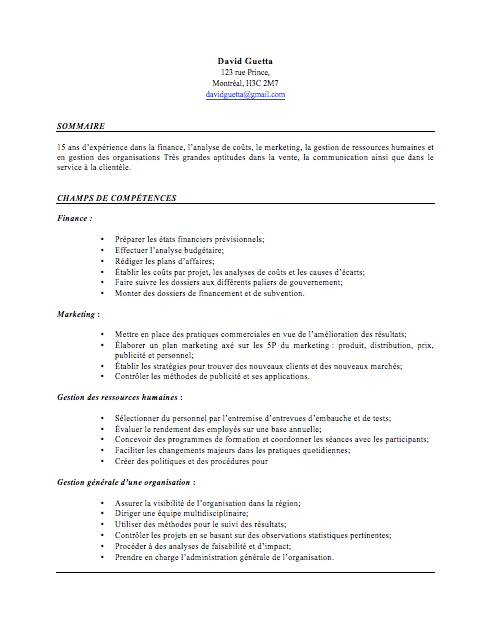 cv pour stage avant reconversion