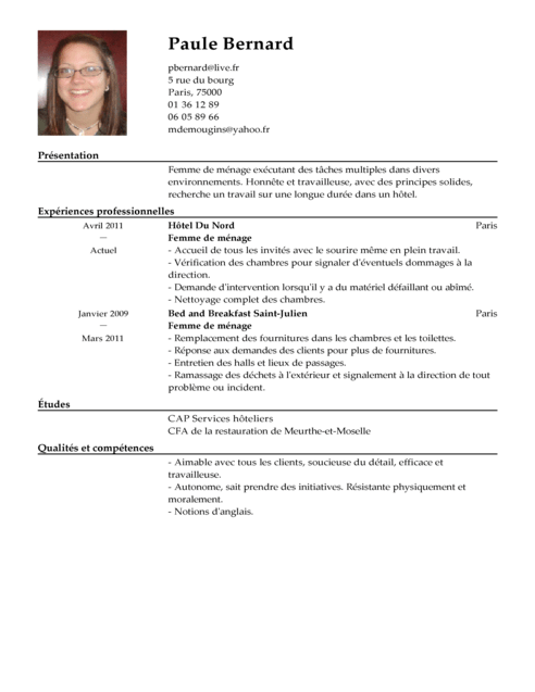 comment faire un cv hotellerie