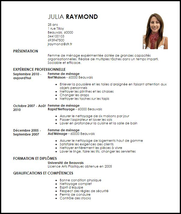 comment faire un cv menage