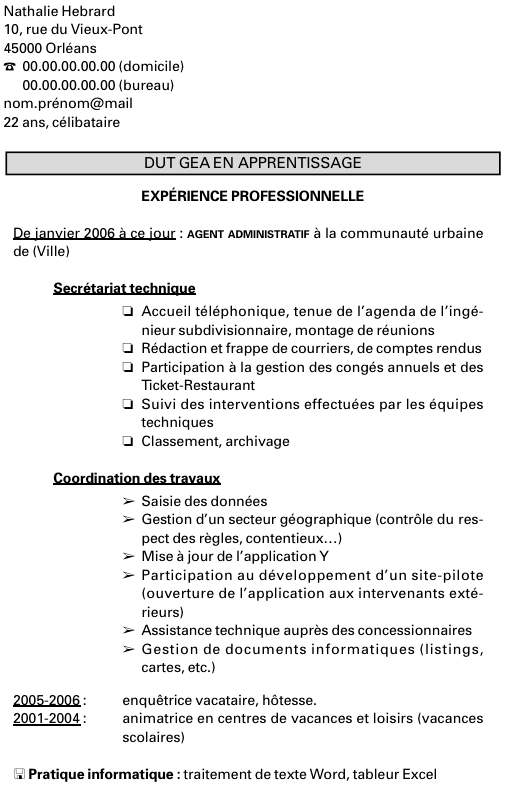 cv pour inscription universite