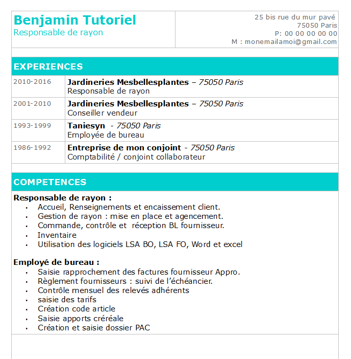 comment faire un cv tres simple