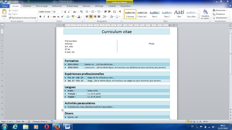comment modifier un cv a partir de word