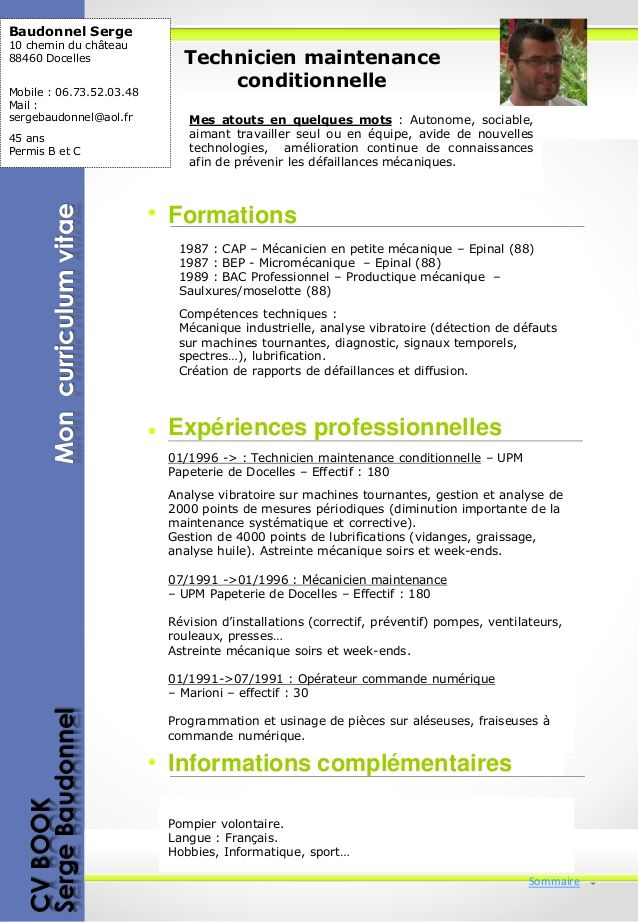 cv technicien maintenance informatique pdf