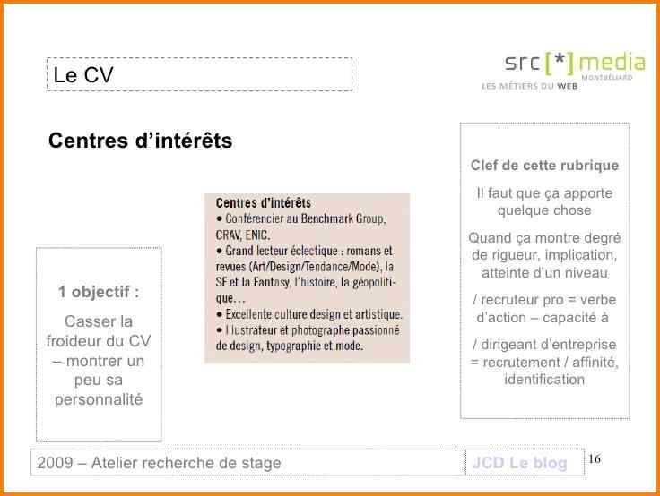 cv champ interets