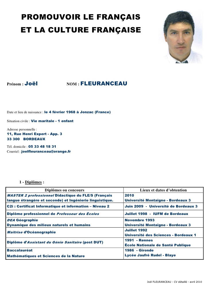 cv avec photo wordpad