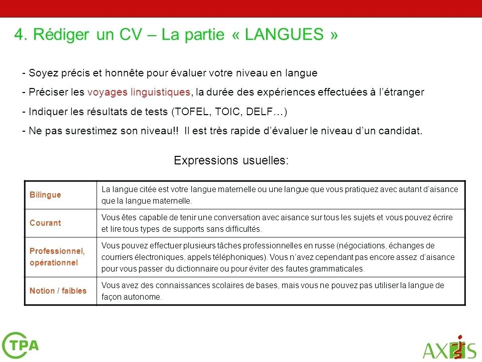 cv niveau langue courant