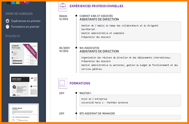 faire un bon cv application