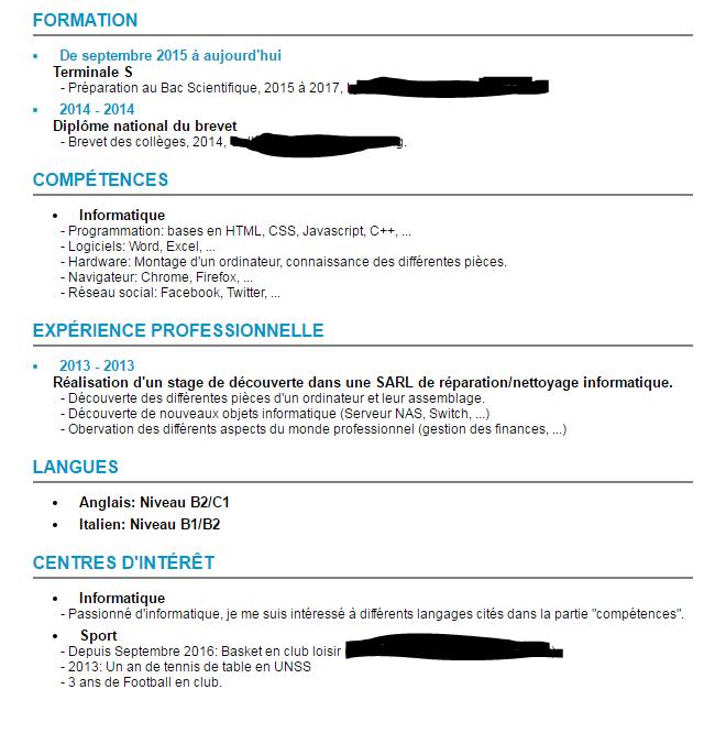 tutoriel cv parcoursup