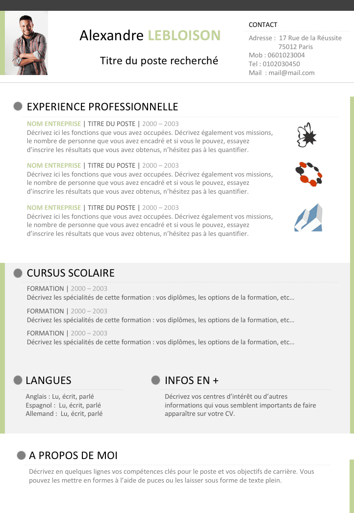cv a faire libre office