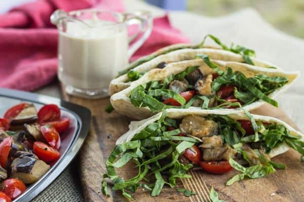 Roasted Eggplant and Tomato Pitas with Lemon Tahini Sauce | Letty's Kitchen