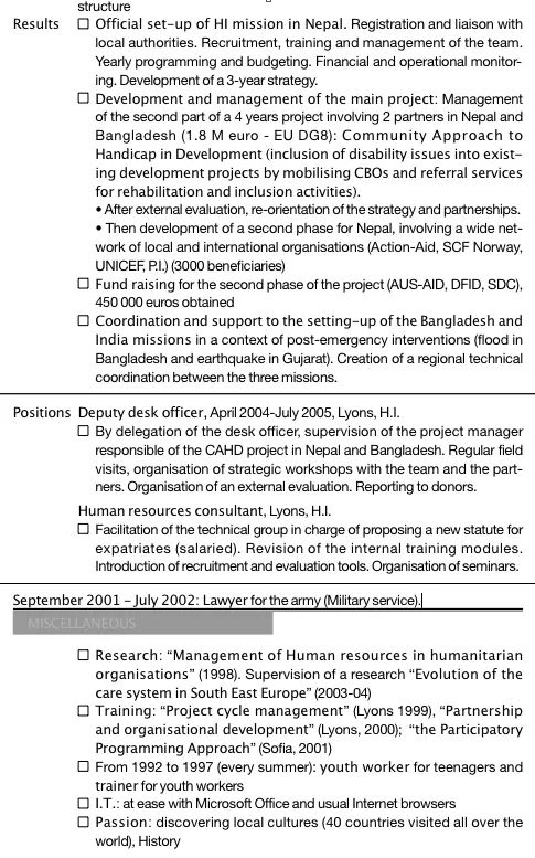 cv dossier