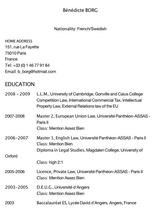 cv anglais simple etudiant