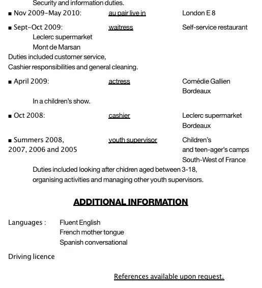 cv fille au pair exemple