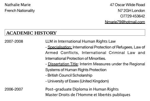 international curriculum vitae format