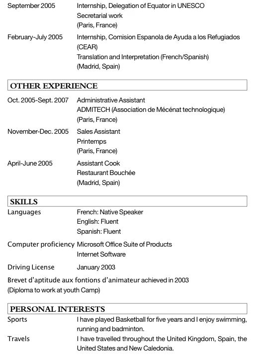 cv exemple pour un job bafa stage pratique