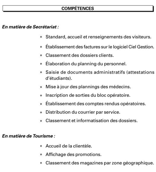 presenter ses competences sur un cv