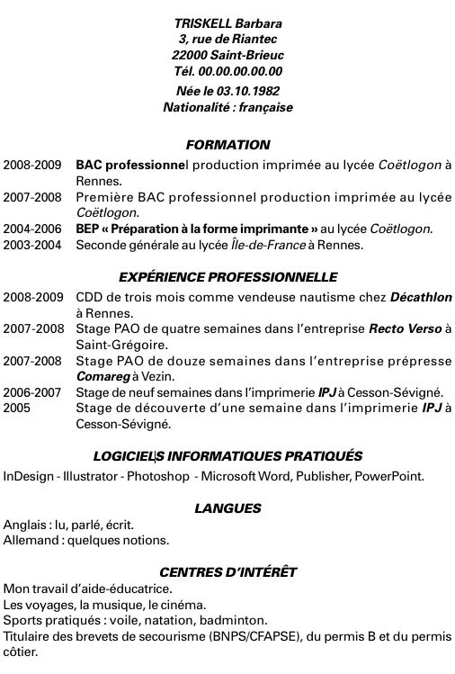 exemple cv job temps partiel