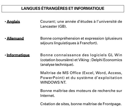 exemple cv langues et informatique en anglais