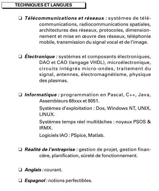 exemple langue cv