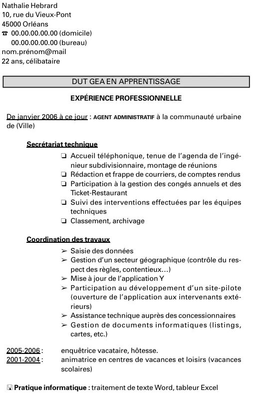 exemple cv ecole alternance
