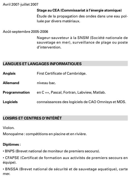 cv exemple seconde pro duree stage