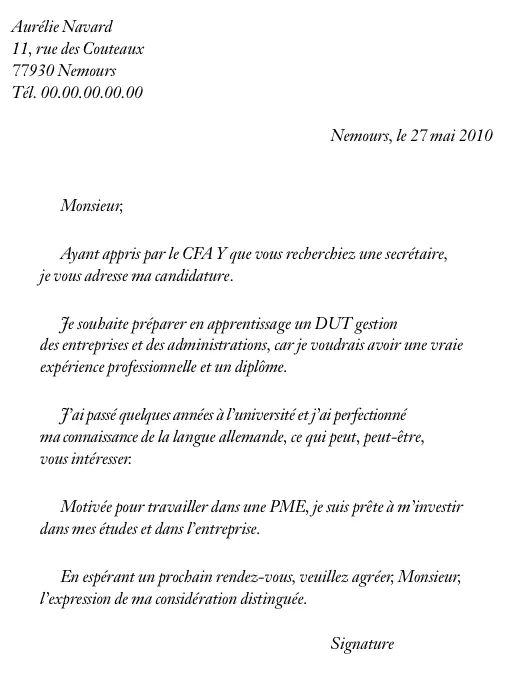 cv et lettre de motivation pour admission post bac