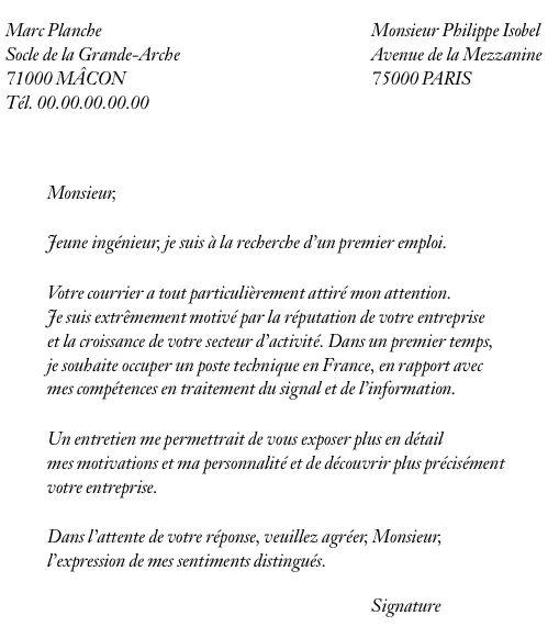 lettre de reponse a une demande de cv