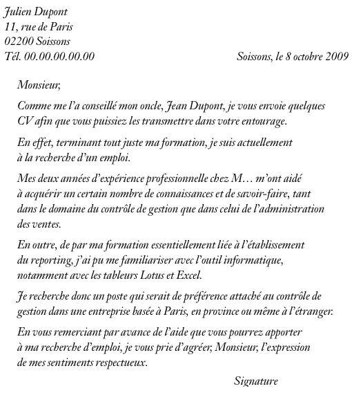 lettre de candidature pour etre membre cvs