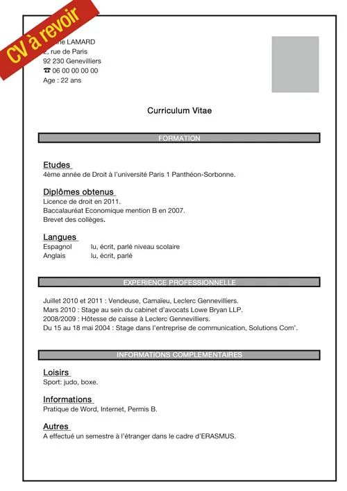 description cv etudiant exemple
