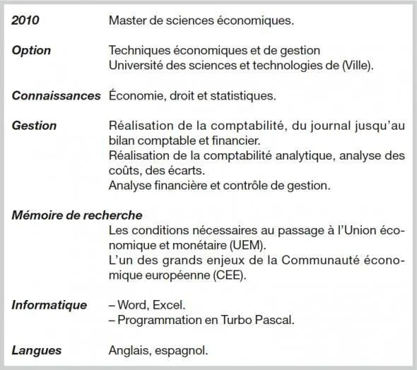 cv anglais section langue