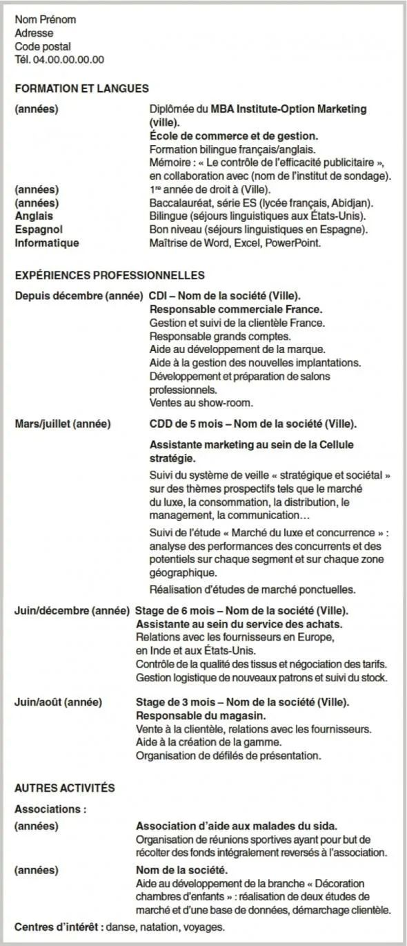 cv marketing exemple stage