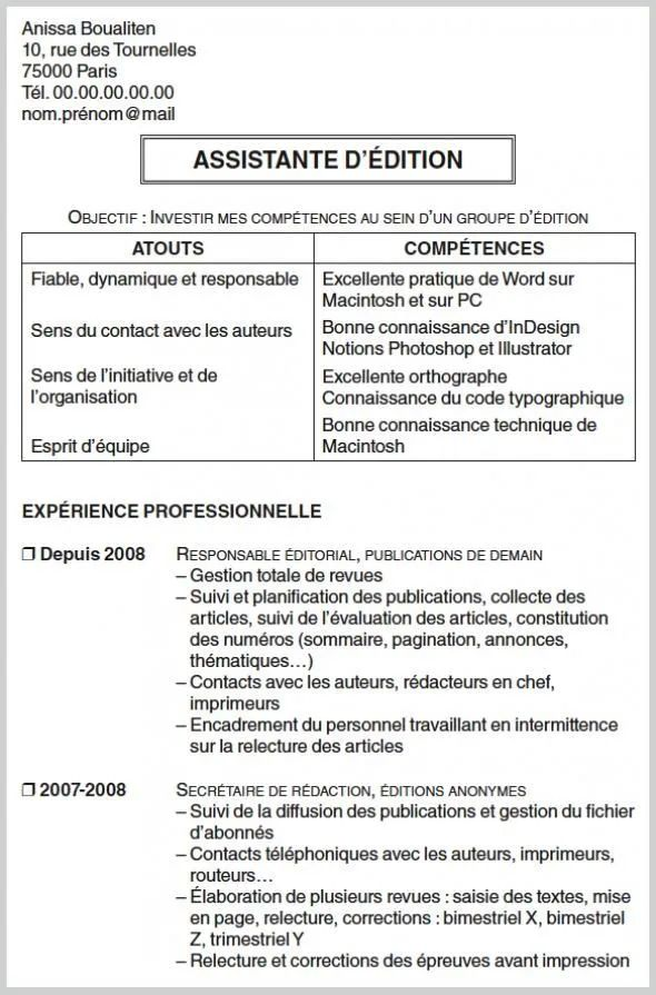 rediger un cv scientifique demande de stage