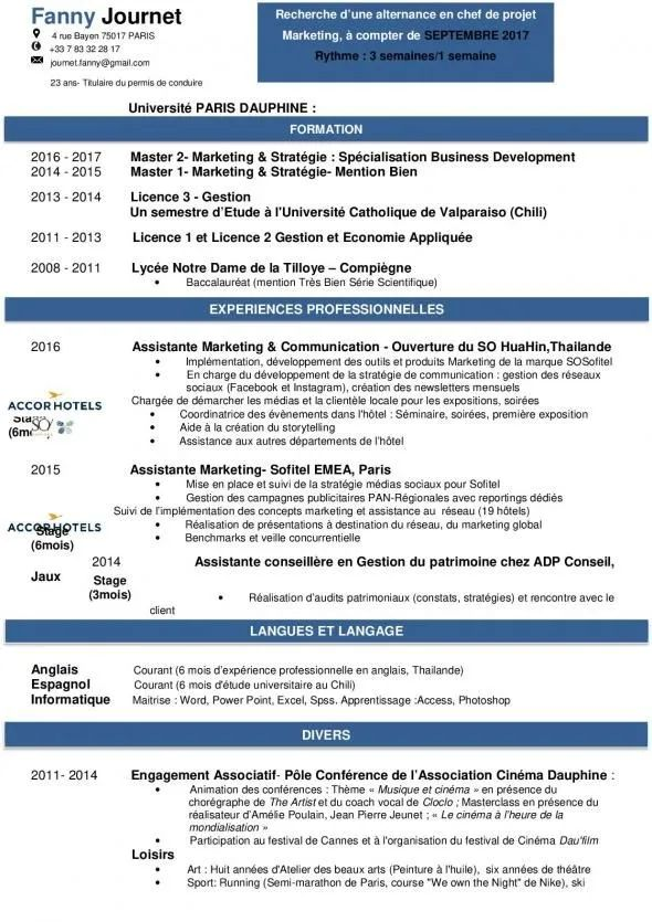 exemple de cv bac pro mecanique