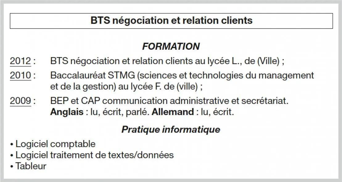 stages de formations dans un cv