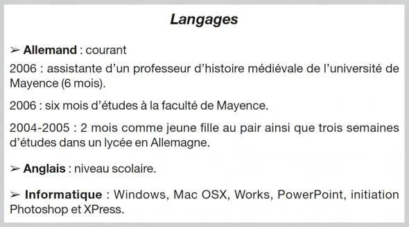 indication langues cv