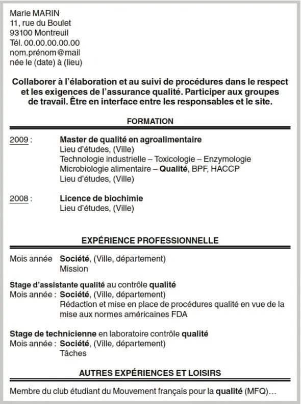 un cv qui ne necessite pas de lettre de motivation