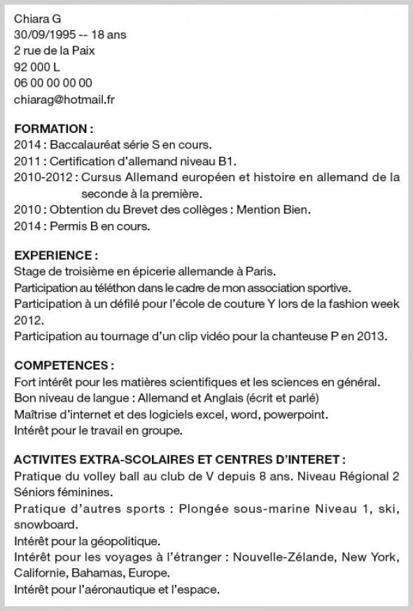exemple cv candidature
