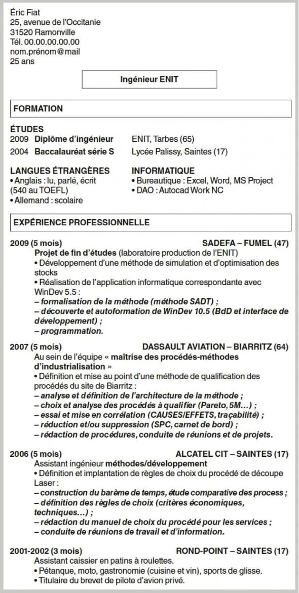 exemple cv anglais stage ingenieur mecanique
