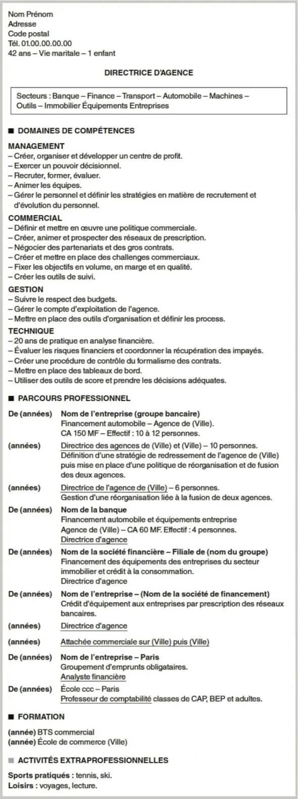 mobilite cv exemple
