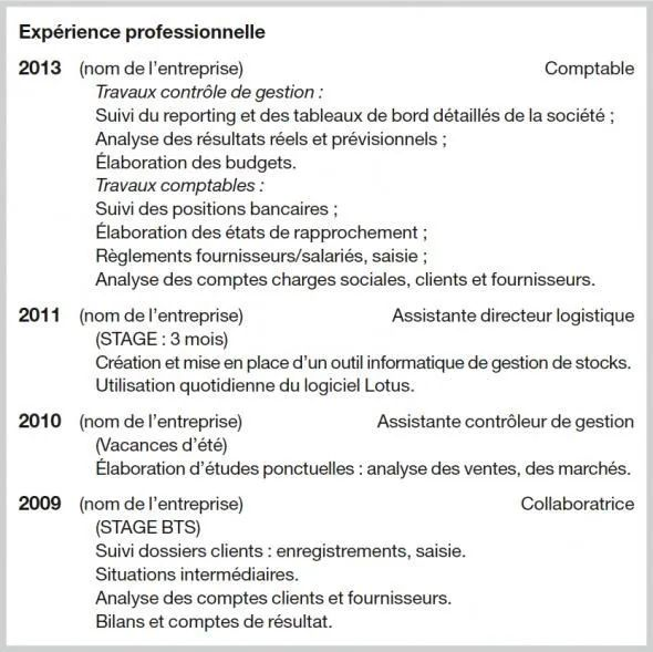 cv stage formation ou experience professionnelle