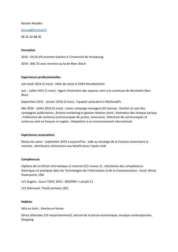 exemple de cv pour disponibilite