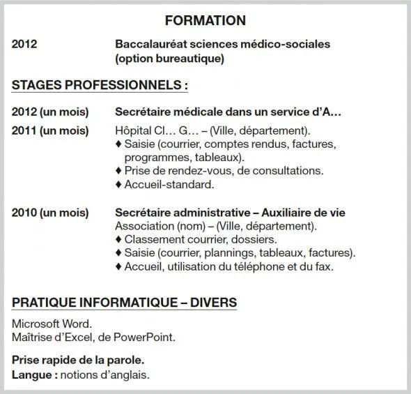 formations cv faire apparaitre bac
