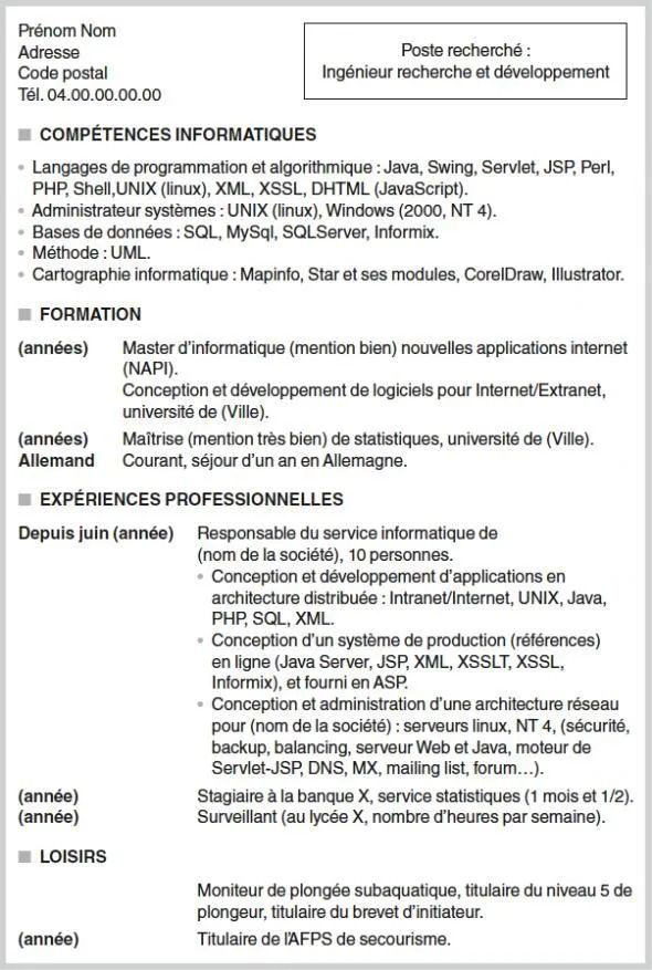 exemple de cv ingenieur allemand
