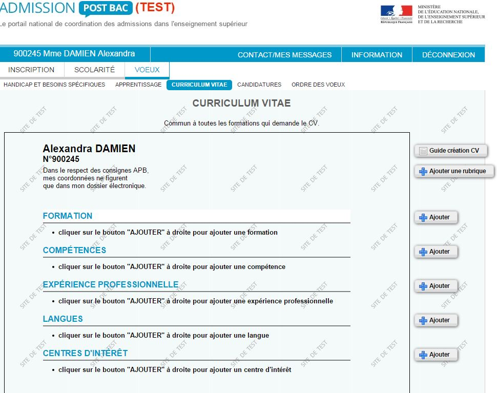 exemple de cv admission post bac
