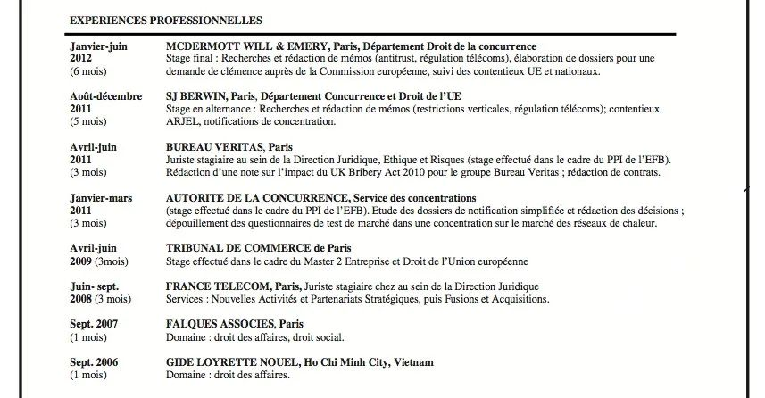 cv stage avocat exemple