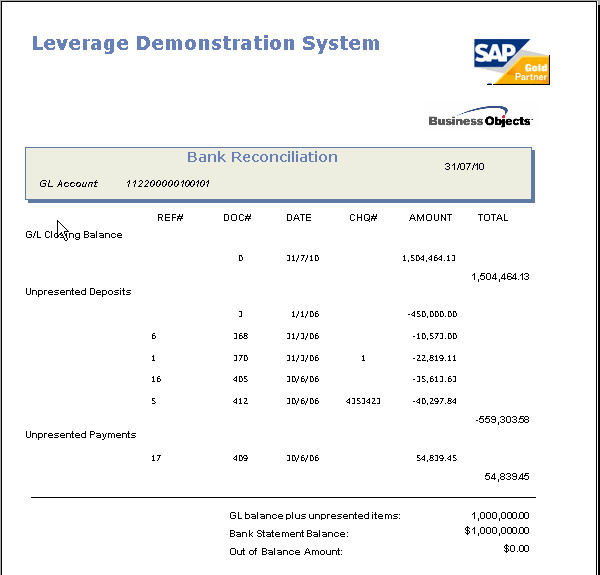 SAP Business One Bank Reconciliation Reporting