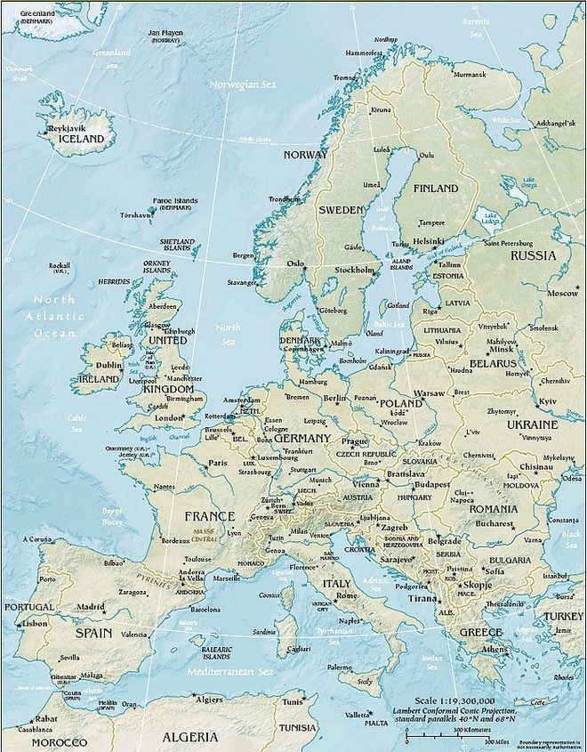 Map of the area Europe
