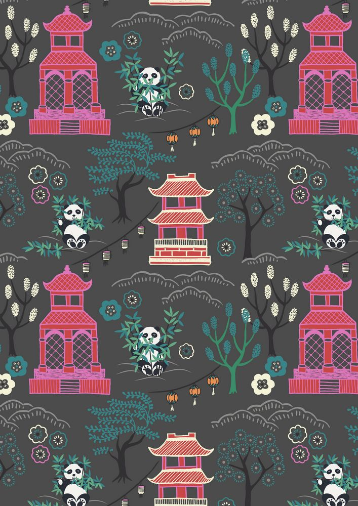 A116.3 - Panda temple on dark gery